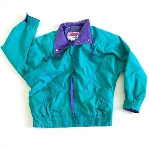 Mens M vtg bomber ski coat blue turquoise 80s 90s